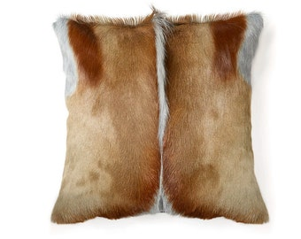 African Springbok Real Fur Pillow - 18 x 18