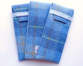 HARRIS TWEED Glasses case , pale blue tartan