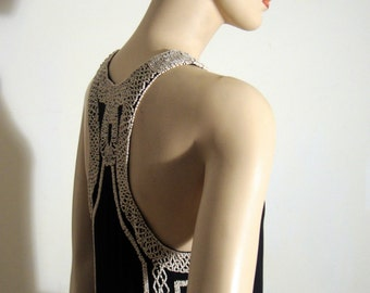 1990's Black Crepe Chiffon Shift Dress with Creme Beaded Details, Gatsby Party Dress  Bust 32