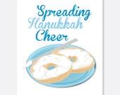 Spread Hanukkah Cheer Card, Funny Hanukkah Card, Bagel Hanukkah Card