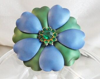 Vintage Flower Brooch. Blue Green Enamel Flower Power Pin. Green Rhinestone Flower Brooch.