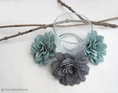 6 pieces Teal Grey Dark Blue Fabric Dahlia Flowers Decor. Rustic Wedding Decoration. Bridal Shower Decor