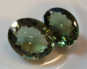 Green Amethyst Oval Briolettes One Pair