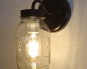 Mason Jar Wall SCONCE Lighting Fixture New Quart