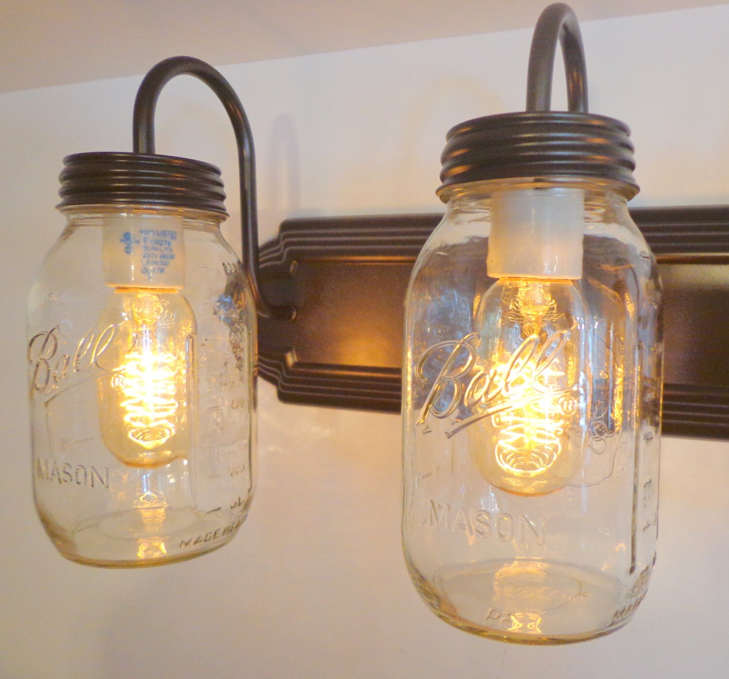 MASON JAR Wall Sconce NEW Quart Trio Light Vanity Flush