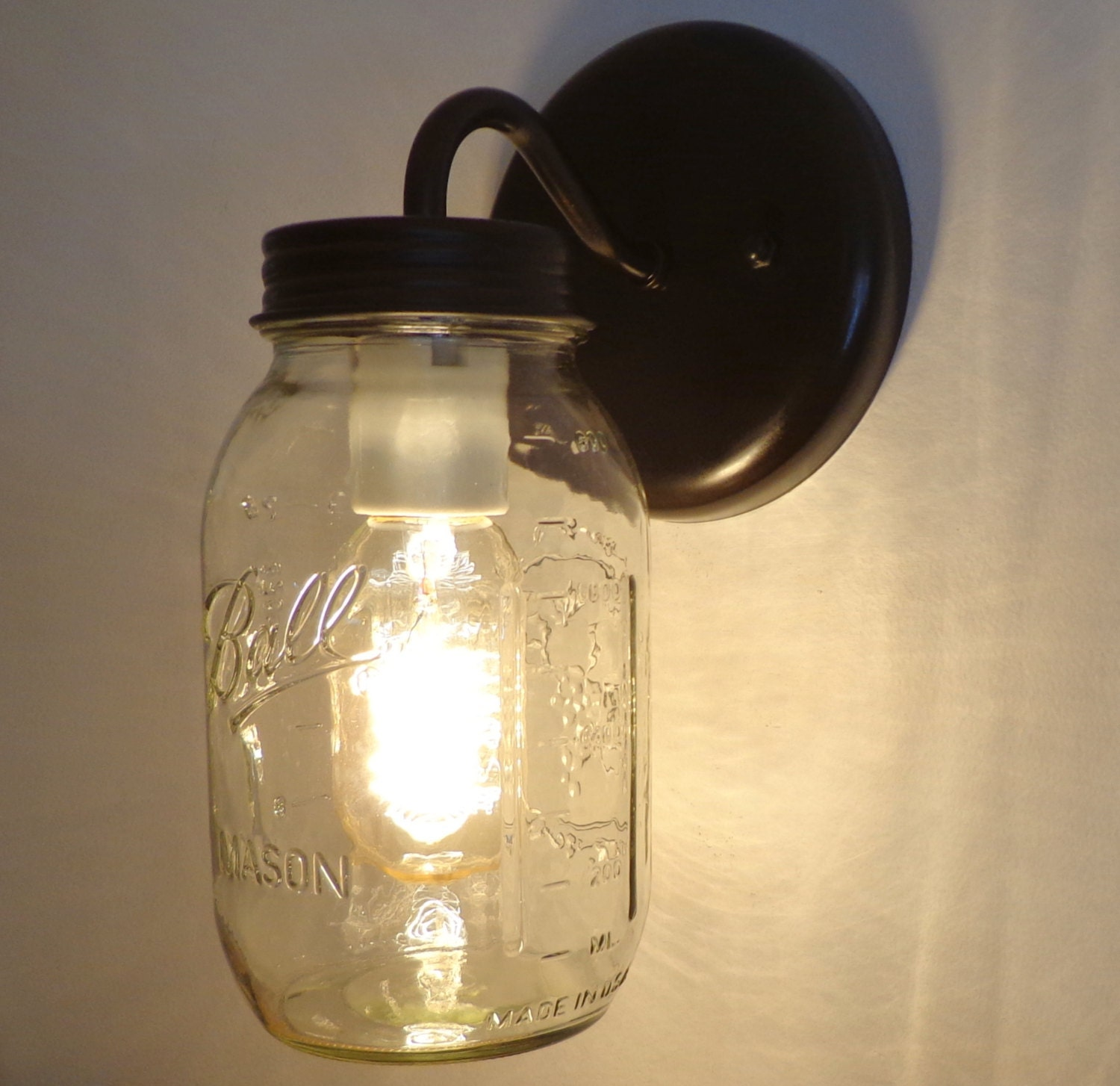 mason jar wall sconce lighting fixture new quart by lampgoods. Black Bedroom Furniture Sets. Home Design Ideas