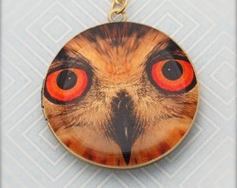 Owl Locket Necklace Jewelry Vintage Inspired Jewellery Orange Eyes Whimsical Owl Bird Jewelry Round Photo Jewelry Owls Tree Leaves Nature