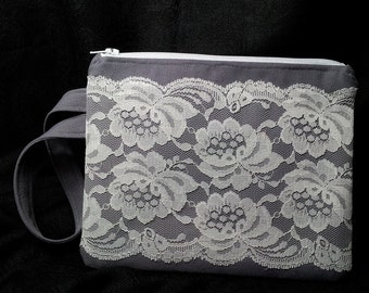 Zippered Wristlet with Vintage Lace Overlay Gray and White