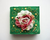 Needle Book Green Felt Needle Organizer with Rose Chiffon Flower and Brass Sciccors Charm Handsewn