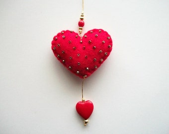 Felt Ornament Beaded Red Heart Valentine Ornament with Red Glass Heart Dropping Handsewn