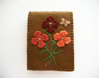 Needle Book Brown Felt Cover with Hand Embroidered Felt Flowers and Little Butterfly Hand sewn