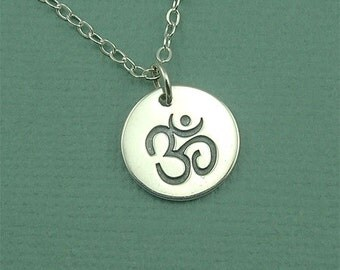 Om Necklace - Sterling Silver Om Jewelry, Yoga Necklace, Ohm Necklace, Om Pendant, Yoga Teacher Gift, Buddhist, Yoga Gifts