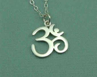 Om Necklace - Sterling Silver Ohm Jewelry, Ohm Necklace, Om Symbol, Yoga Jewelry, Om Pendant, Buddhist Jewelry, Yoga Gifts,
