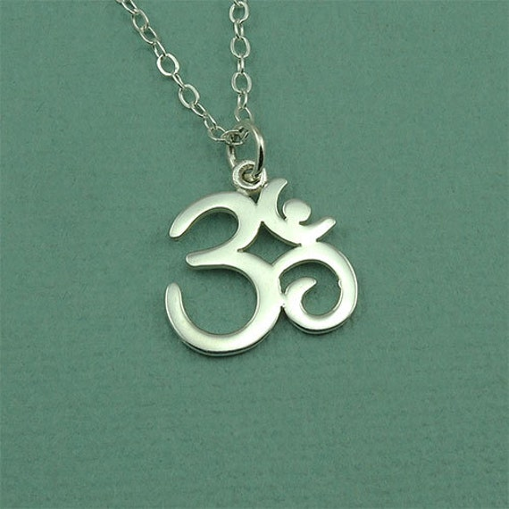 Om Symbol Necklace - sterling silver ohm jewelry, yoga gifts, yoga gift