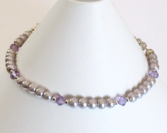 Purple Pearl & Crystal Bracelet, Wedding Jewelry, Gifts for Women Mom Wife Sister Daughter Grandma Under 20, Stocking Stuffers