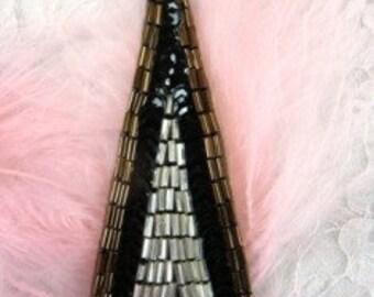 "FS3307 Bronze Black Triangle Sequin Beaded Applique 3"""