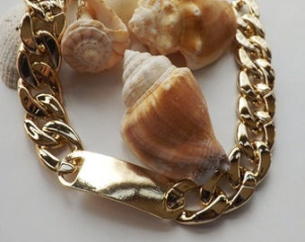 Chunky Gold Tag Necklace - Gold Necklace,  Bold Modern Trendy Jewlery