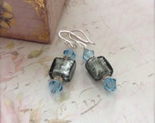 Grey Bead Earrings Blue Crystal Earrings Sterling Silver Dressy Earrings Gift for Her