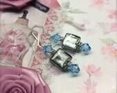 Grey Bead Earrings Blue Crystal Earrings Sterling Silver Dressy Earrings Gift for Her