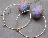14k Gold Fill Hoop Earrings with Artisan Lampwork Beads