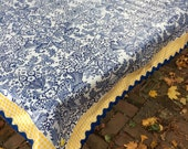 Classic blue toile and yellow gingham oilcloth tablecloth
