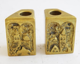 A beautiful pair of vintage candle holders made by Avigdor Betzalel in Jerusalem.