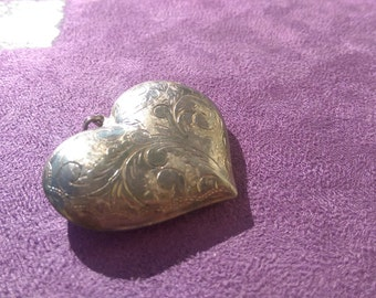 Vintage 925 Beautiful Large Puffed Heart Pendant with a detailed Etched Scroll Design
