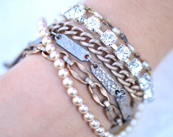 Bridesmaid Bracelet Mixed Metal Bracelet Multi Chain Bracelet Bridesmaid Gift Gunmetal Chunky Layered Chains Bracelet