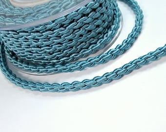 """Satin thick """"chain"""" braided silk cord, grey blue, 0.9m"""