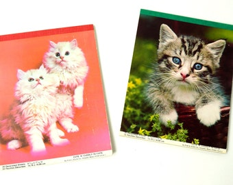 Vintage 1970s Cute 'N Cuddly Kittens Notepad Stationary NOS Set of 2, More Available / Cat Lover, Pen Pal Stationary