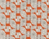 Novelty Prints From Timeless Treasures Fabric Cute Red Stone Fox Foxes with Dandelions on Gray Grey