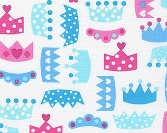 Princess Life Fabric by Anne Kelle Pink and Blue Polka Dot Heart Crowns Tiaras on White