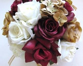 "Reserved listing Wedding Silk flowers Bouquet Bridal  BURGUNDY CHAMPAGNE GOLD Cream 14 pc package  Decorations Centerpieces ""RosesandDreams"""