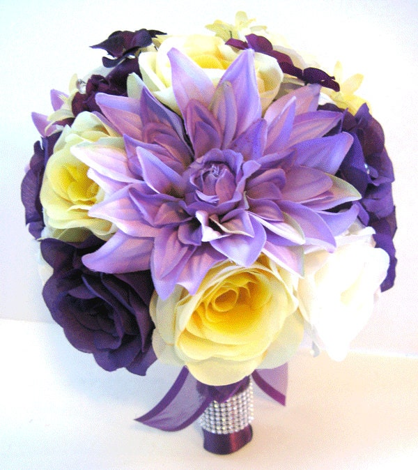Wedding Silk Flowers Bouquet Bridal PURPLE YELLOW LAVENDER