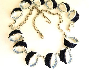 1960s Vintage Silver Beaded Navy Blue Lucite & Pale Blue Rhinestones Necklace and Bracelet set -Original design and dazzling - Art.540/3 -