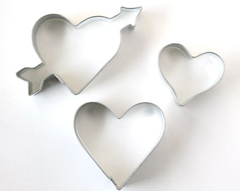 Heart Cookie Cutter Set (3 cookie cutters) Valentine's Day Cookie Cutters, Wedding Cookie Cutters
