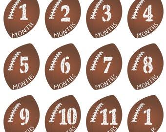 Football Monthly Baby Milestone Onesie Stickers