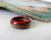 Hand made  maple wood recycled skateboard ring, size 10 and 3/4.