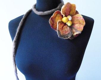 felt brown flower necklace, fiber necklace lariat, statement necklace, lariat, eco friendly