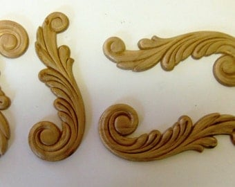 Onlays 4 Pairs 8 Pieces Birch Wood Embossed Plumes Wings Trims Ornaments  Pediments Appliques 4.5 Inch