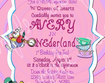Custom Cheshire Alice in Wonderland Birthday Invitation Digital File