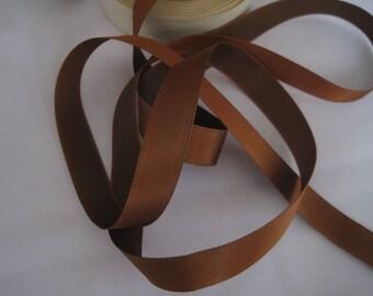 Brown ribbon French Satin ribbon trim Rayon ribbon Narrow ribbon fabric ribbon  Medium brown 5/8 inch