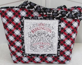 Red and Black Tartan Plaid Dog Large Tote Bag Barkington University Dog Themed purse Ready To Ship