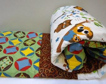 Baby Boy Quilt-Owl Crib Bedding-Monkey Baby Blanket-Hooty Hoot Returns-Modern Baby Blanket