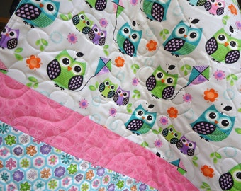 Modern Baby Quilt Owls On Branches Bright Baby Girl