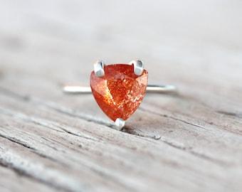 Triangular Confetti Sunstone Ring Abstract Orange Woodland Minimalistic Triangle Gemstone Bright Summer Sun Boho Gift Idea - Tanzanian Fox