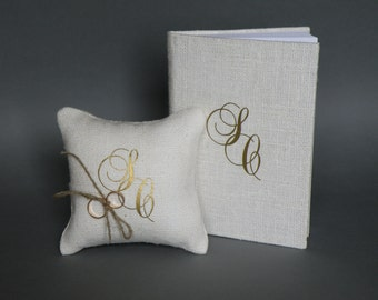Set of 2 peaces Wedding rustic Burlap guest book and ring pillow Gold Initials
