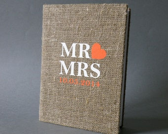 Wedding Guest Book / Wedding Book / Rustic Wedding Guest Book /  Linen Guest Book Size 6.1 inches X 8.3 inches MR AND MRS