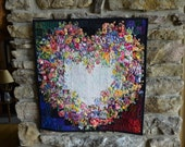 Watercolor Heart Impressionist Art Quilt, Fabric Floral Quilted Wallhanging Decor Flowers
