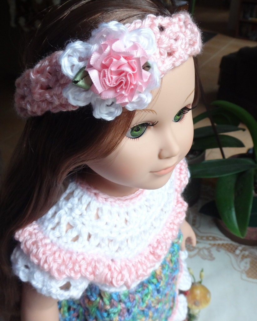 Crochet Dress Up Doll Pattern : PDF PATTERN Crochet 18 inch AG Doll Yarn Dress Set Eyelet